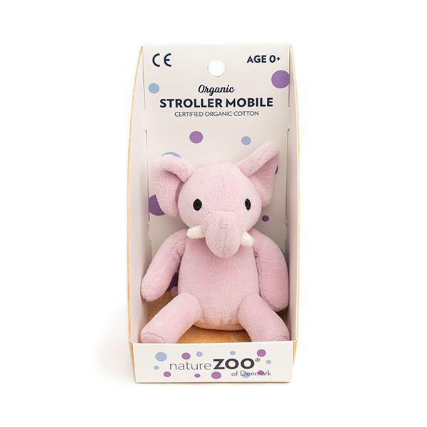 Naturezoo økologisk velour barnevogns ophæng elefant rosa