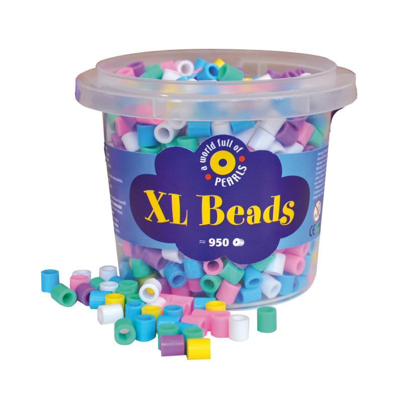 XL rørperler, pastel farver