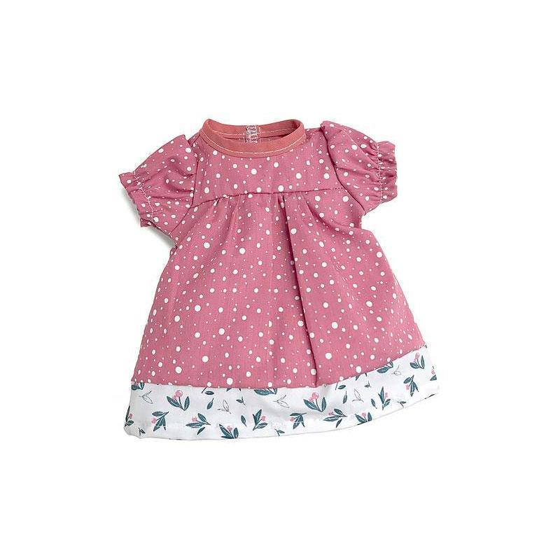 Dukkekjole - rosa med prikker 40 cm